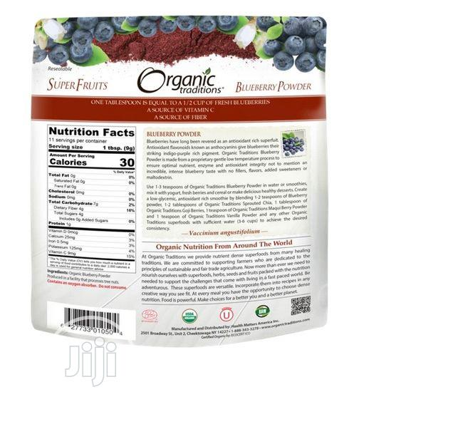 Organic Traditions Blueberry Powder 3.5 Oz 100g | Vitamins & Supplements for sale in Amuwo-Odofin, Lagos State, Nigeria