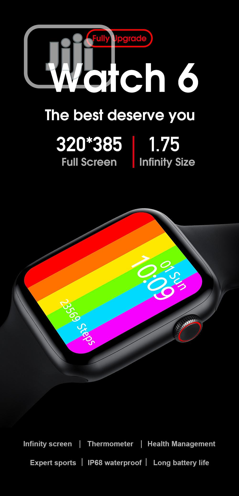 Archive: iPhone Series 6 Smartwatch With Temperature Checker
