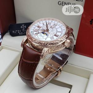 Patek Philippe Automatic Rose Gold Leather Strap Watch | Watches for sale in Lagos State, Lagos Island (Eko)