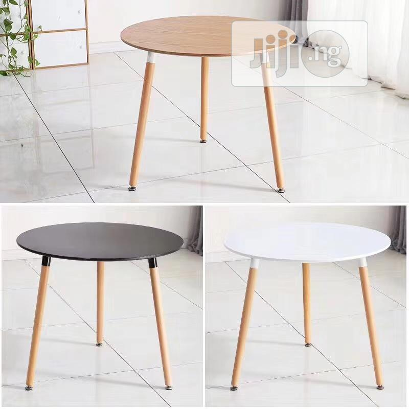 Classy Cafeteria Round Wooden Table