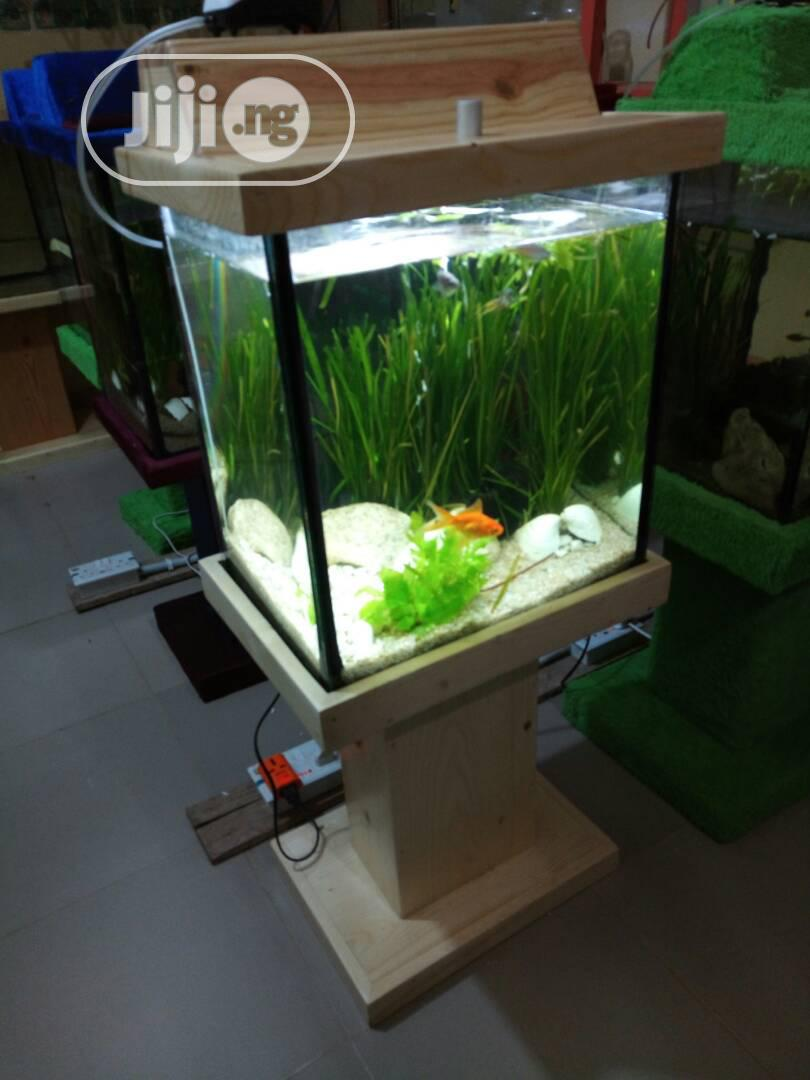Standing Wooden Glass Aquarium For Sale   Fish for sale in Ikeja, Lagos State, Nigeria