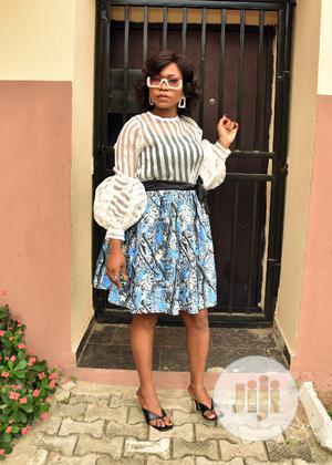 Organza Stripe Blouse With Ankara Skirt | Clothing for sale in Lagos State, Lagos Island (Eko)