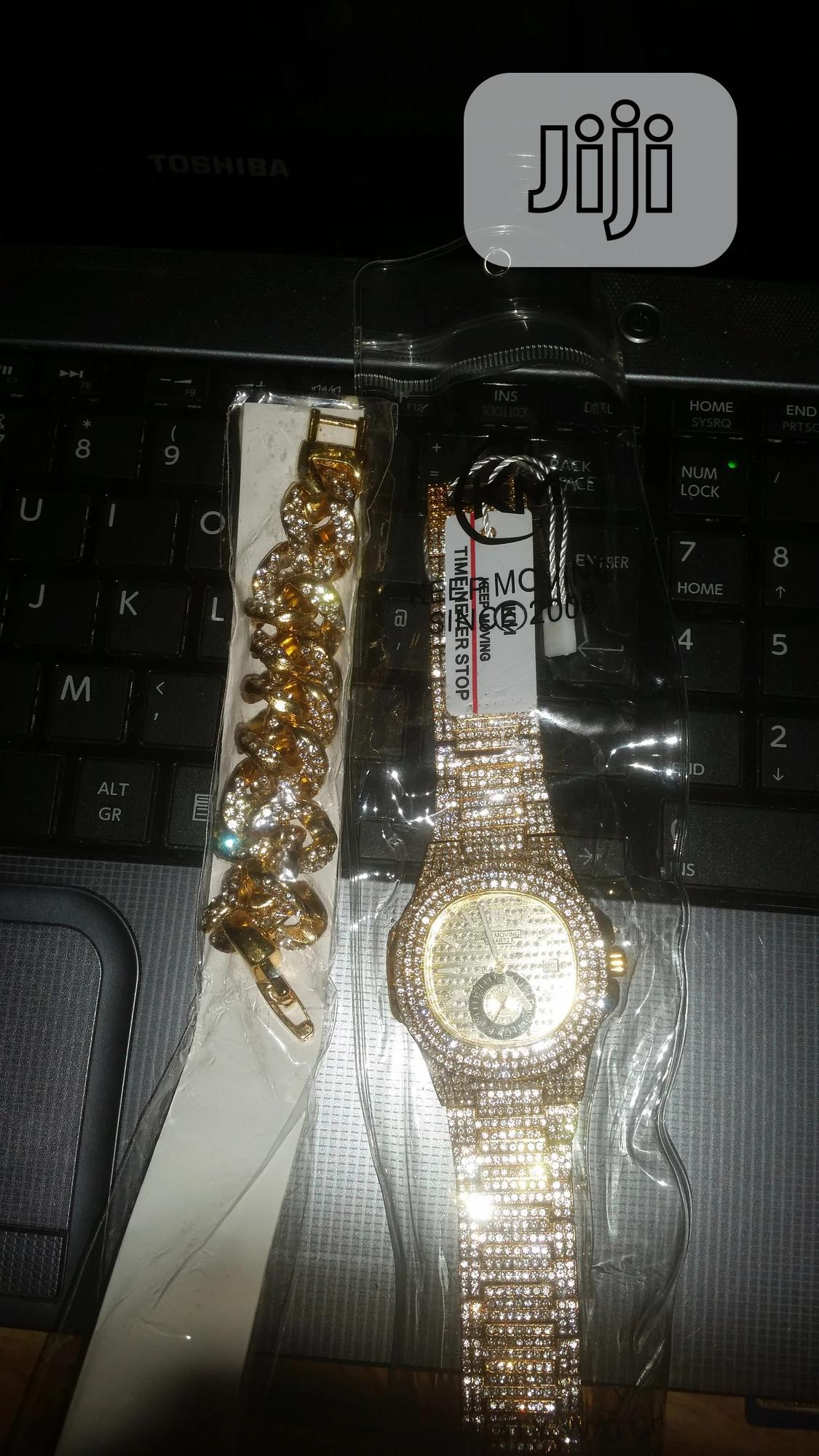 Stone Iced Men's Wristwatch With Hand -chain-gold | Smart Watches & Trackers for sale in Olorunda-Osun, Osun State, Nigeria