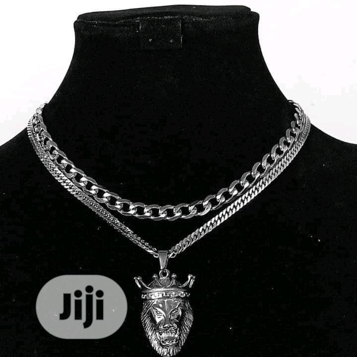 Cuban Chain And Pendant Silver