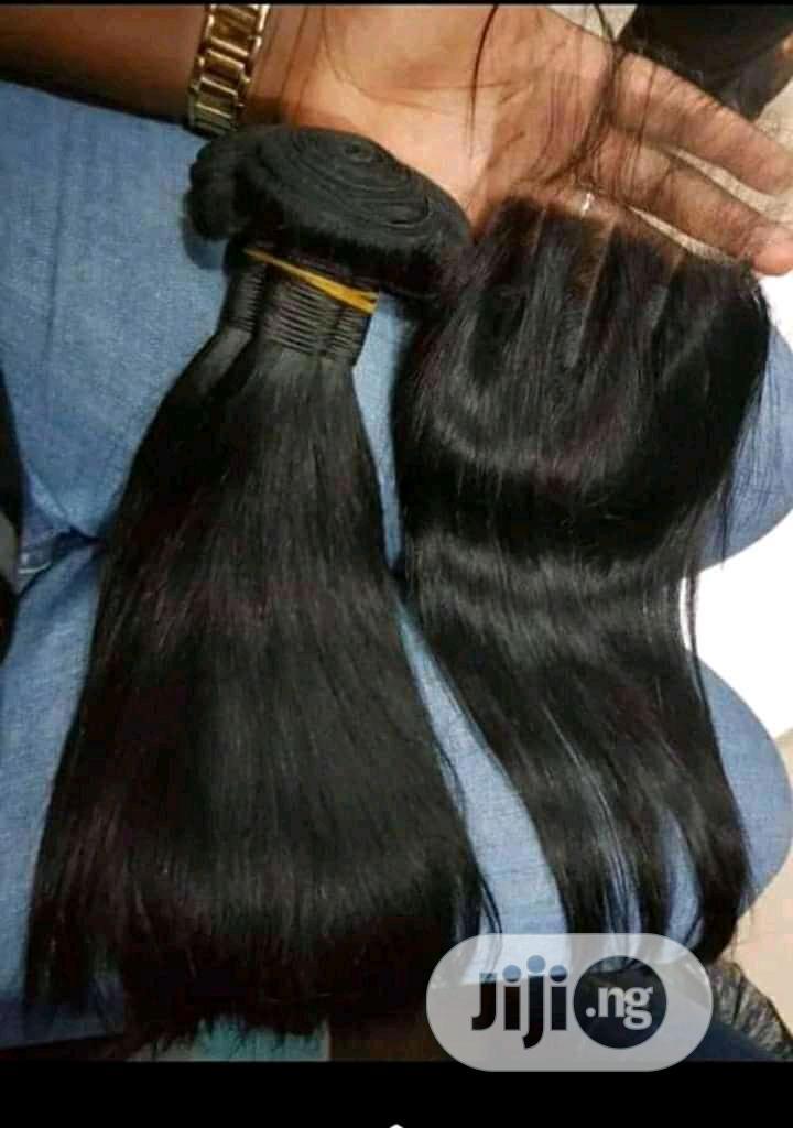 Brazilian Straight Human Hair With Closure Grade 8A