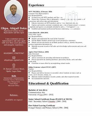 Customer Service CV | Customer Service CVs for sale in Lagos State, Ikeja