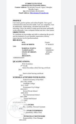 Childcare & Babysitting CV   Childcare & Babysitting CVs for sale in Lagos State, Ikorodu