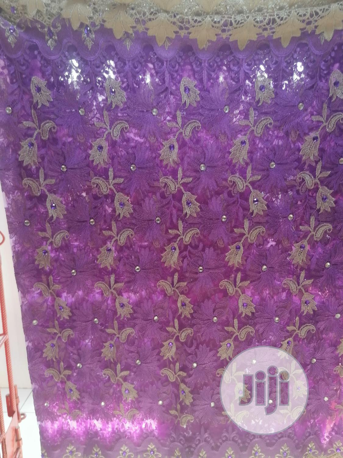 3D Flower Embroidery Purple And Champagne Gold | Wedding Wear & Accessories for sale in Ikoyi, Lagos State, Nigeria