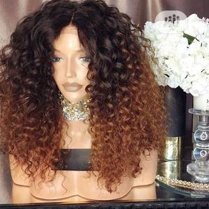 Medium Long Curly Black Gold Stained Wig | Hair Beauty for sale in Lagos State, Ifako-Ijaiye