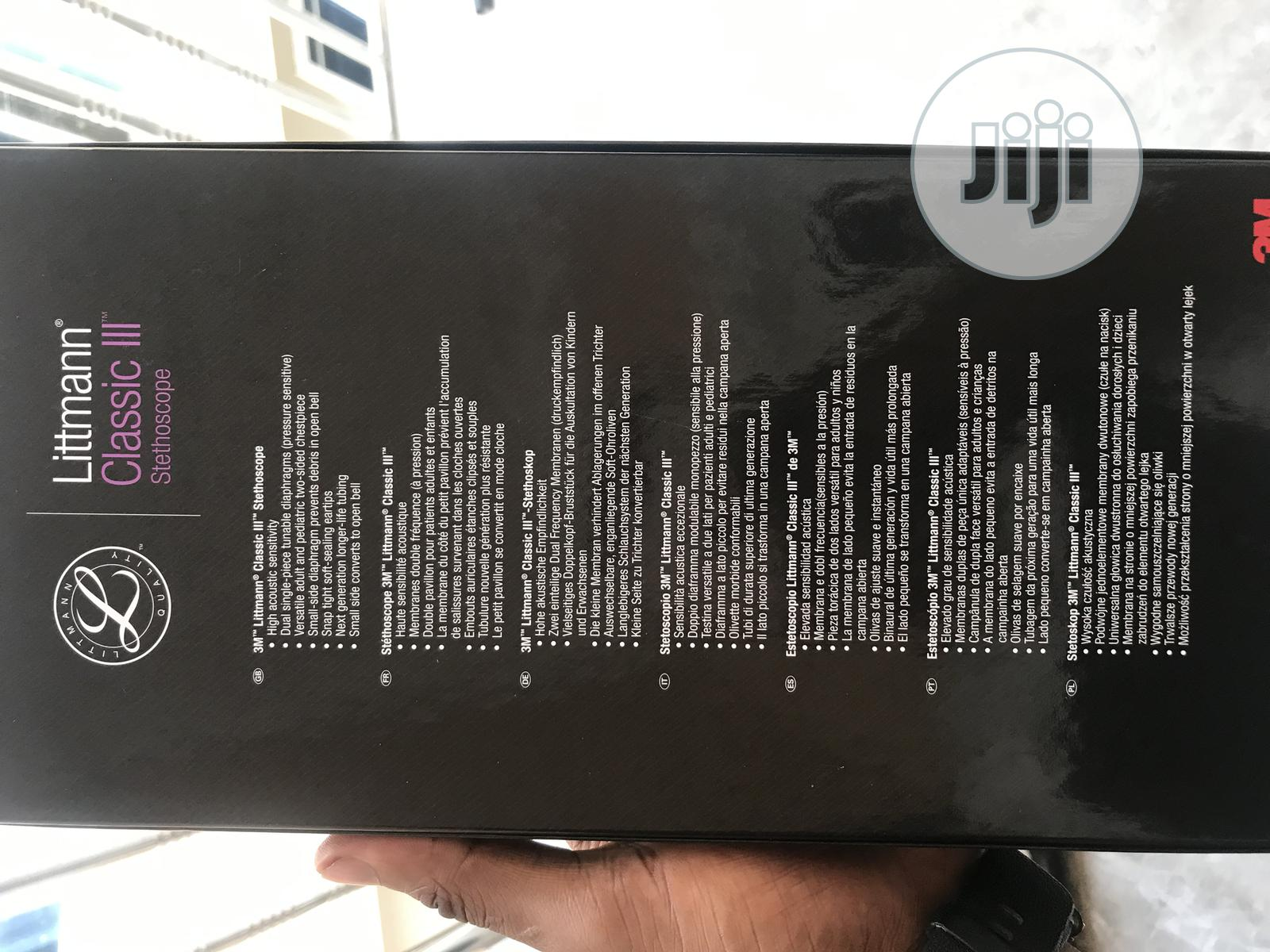 5620 3M Littmann Classic III Stethoscope Black | Medical Supplies & Equipment for sale in Lagos Island (Eko), Lagos State, Nigeria