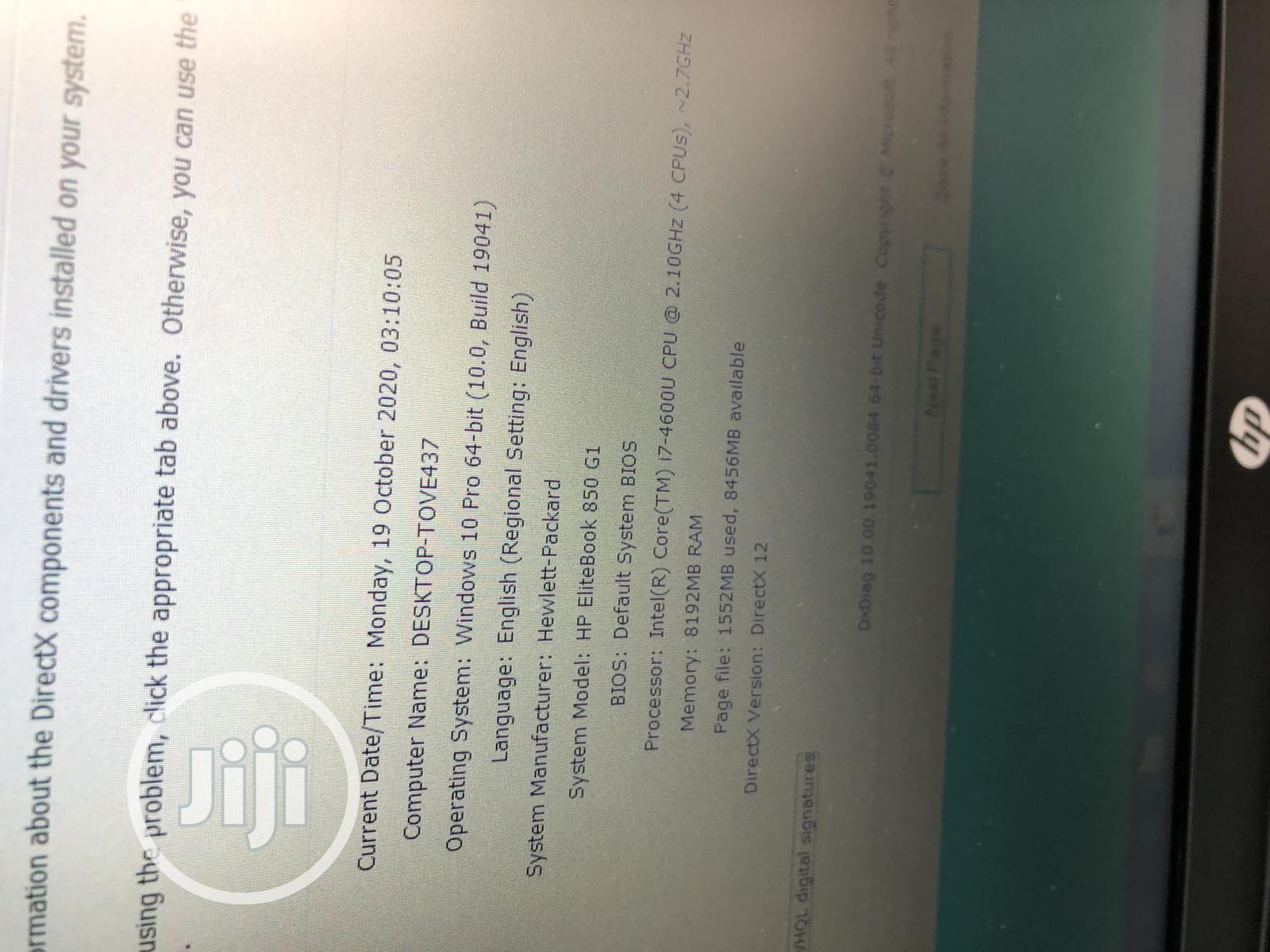 Laptop HP EliteBook 850 G1 8GB Intel Core I7 SSD 160GB   Laptops & Computers for sale in Ikeja, Lagos State, Nigeria