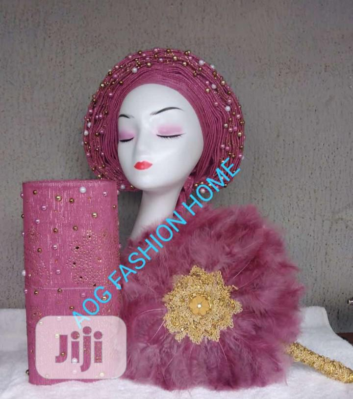 Embellished Autogele With Ipele and Bridal Handfan
