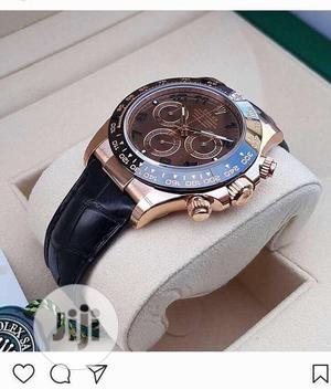 Rolex (DAYTONA) Chronograph Rose Gold/Black Leather Watch   Watches for sale in Lagos State, Lagos Island (Eko)