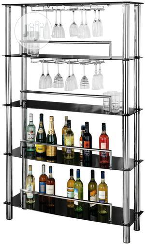 Premier Housewares 4tier Black Glass Wine Shelf Unit With C | Furniture for sale in Lagos State, Lekki