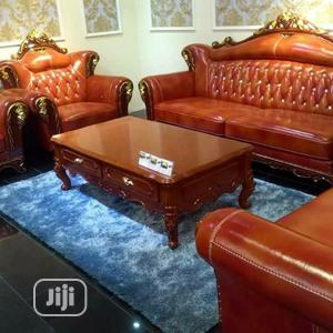ROYAL 7 Seater Brown Leather Sofa With Centre Table   Furniture for sale in Lagos State, Lekki