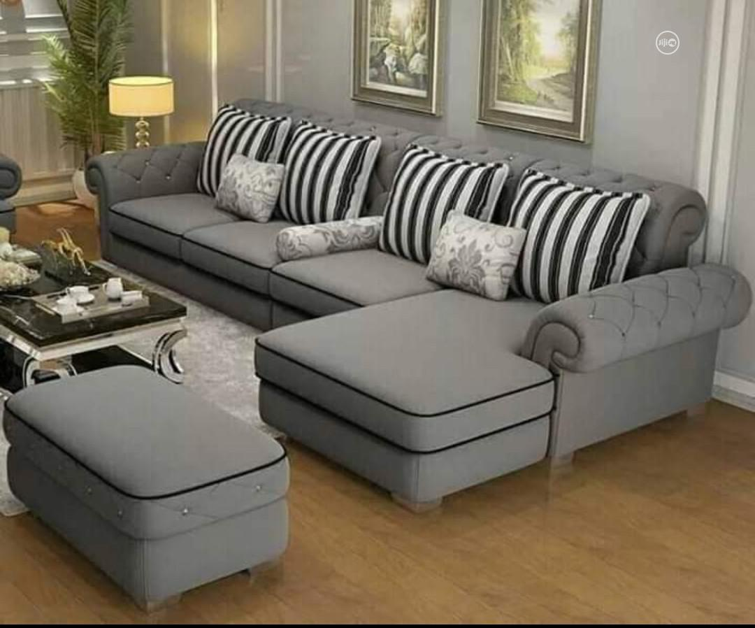 Classic L- Shaped Fabric Sofa With Ottoman