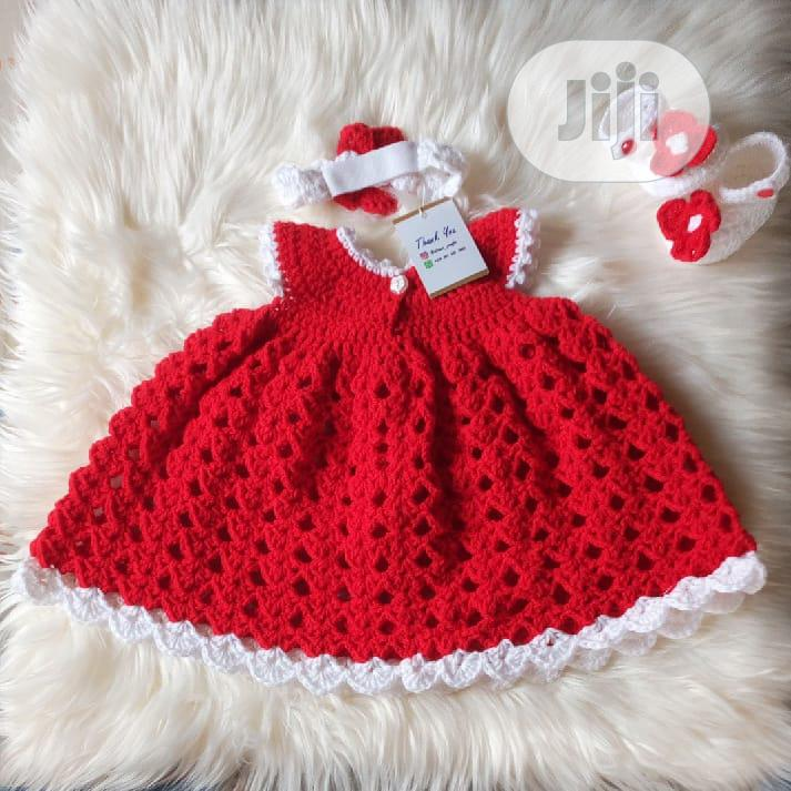 Red Crochet Baby Gown Dress | Children's Clothing for sale in Ikeja, Lagos State, Nigeria