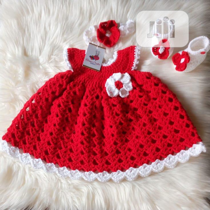 Red Crochet Baby Gown Dress