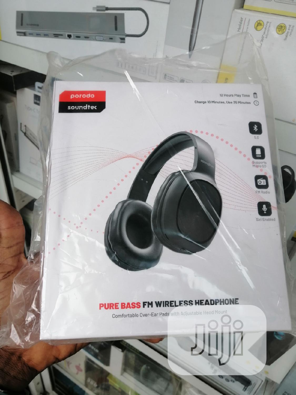 Porodo Soundtec Wireless Pure Bass Fm Headset Black