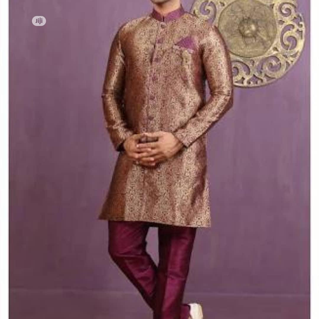 Sherwani Brocade Bule and Gold