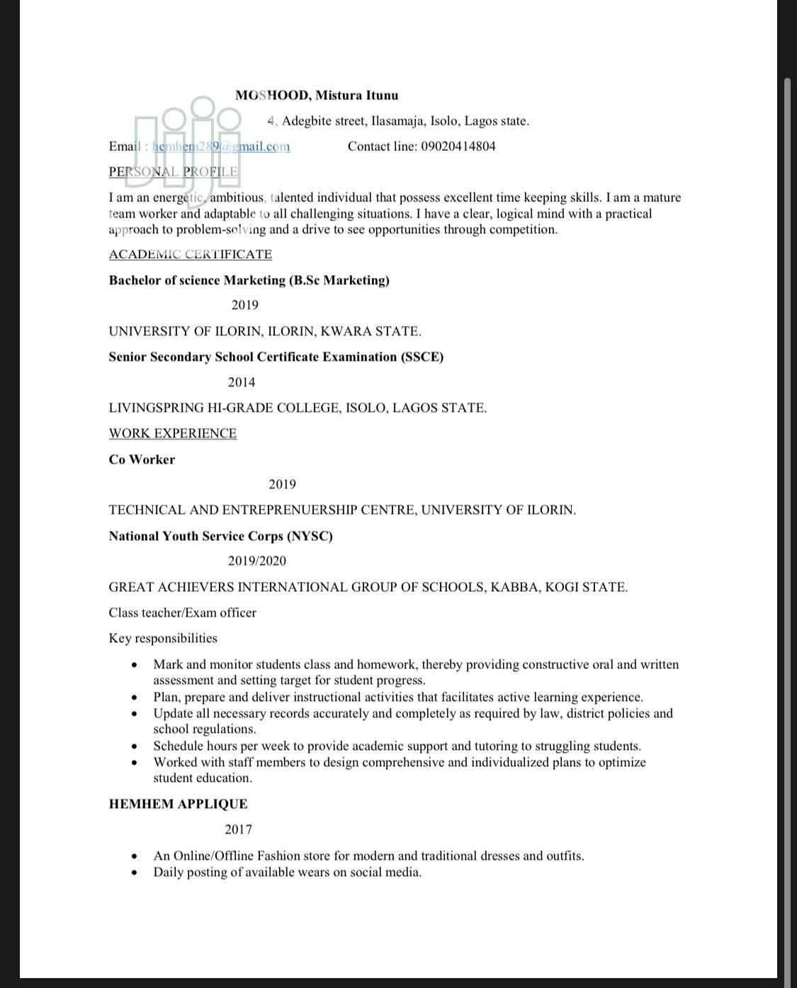 Advertising & Marketing CV   Advertising & Marketing CVs for sale in Oshodi, Lagos State, Nigeria