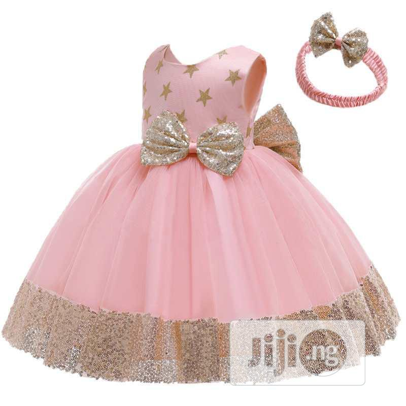 Baby Party Ball Dress With Head Band-pink And Gold