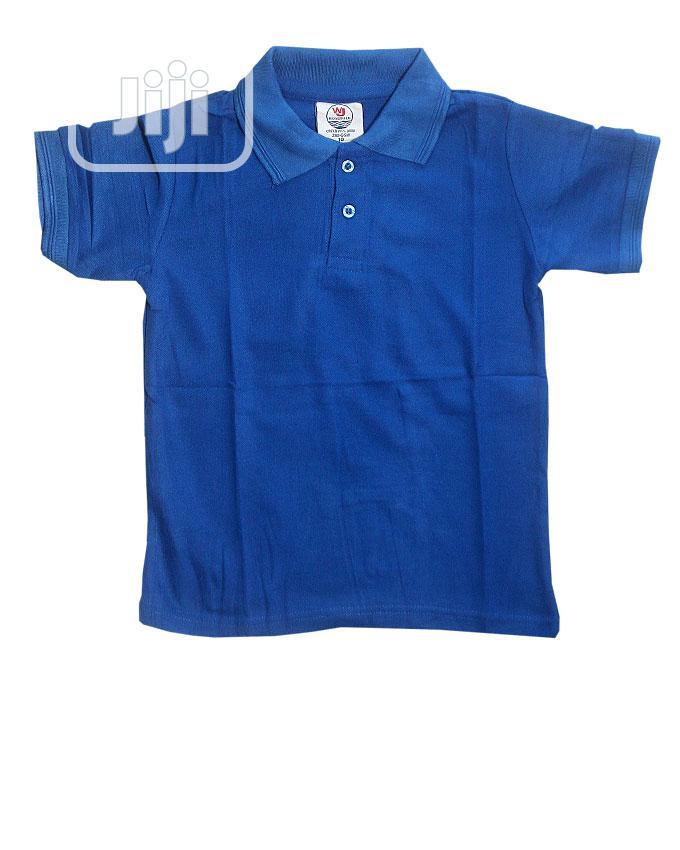 Unisex Short Sleeve Polo Style Top -Royal Blue Sky Blue