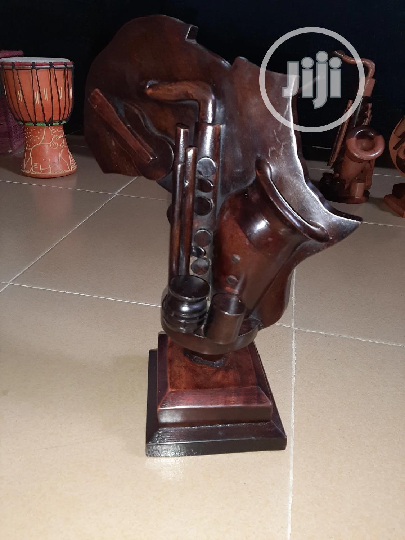 Africa Sculptural Wooden Artwork With Guitar & Saxophone