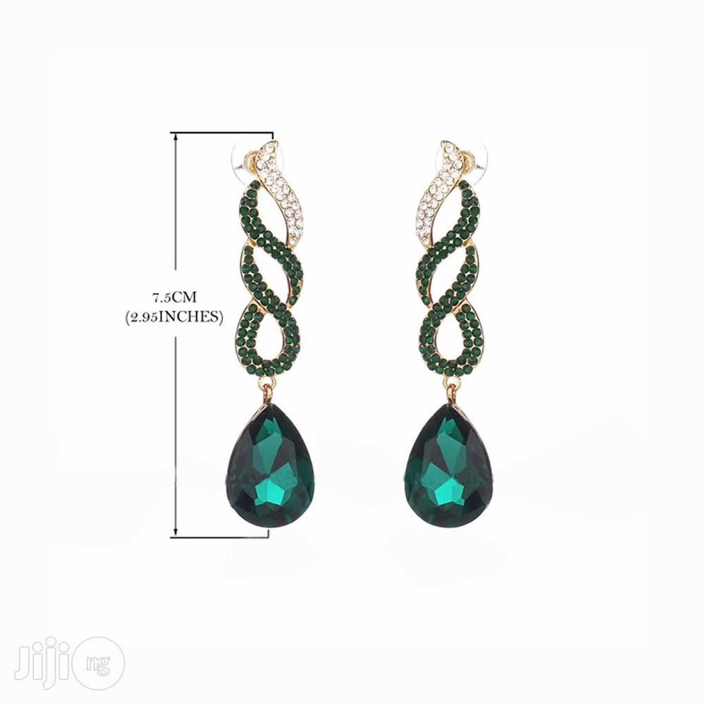 Archive: Gold Plated Crystal Dangle Earring - Green