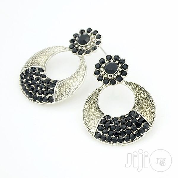Archive: Gold Plated Crystal Drop Earring - Black