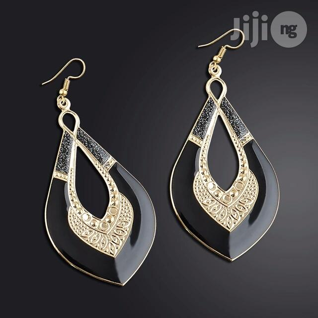 Archive: Gold Plated Love Shaped Drop Earring - Black