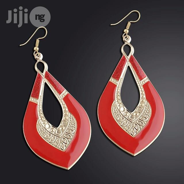 Archive: Gold Plated Love Shaped Drop Earring - Red
