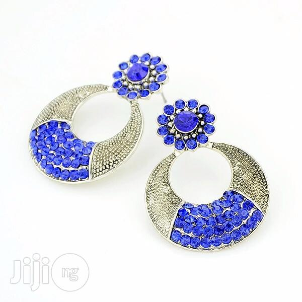 Archive: Gold Plated Crystal Drop Earring - Blue