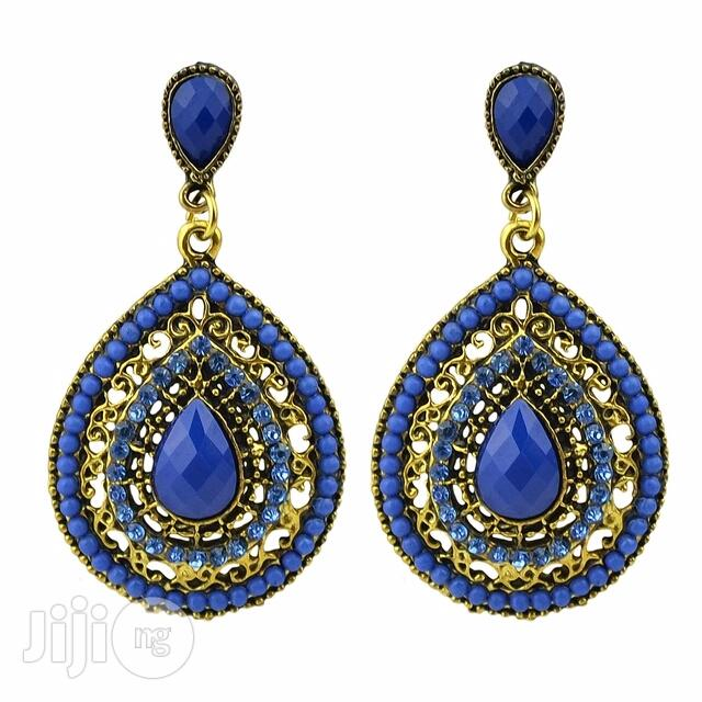 Archive: Gold Plated Drop Earring - Blue