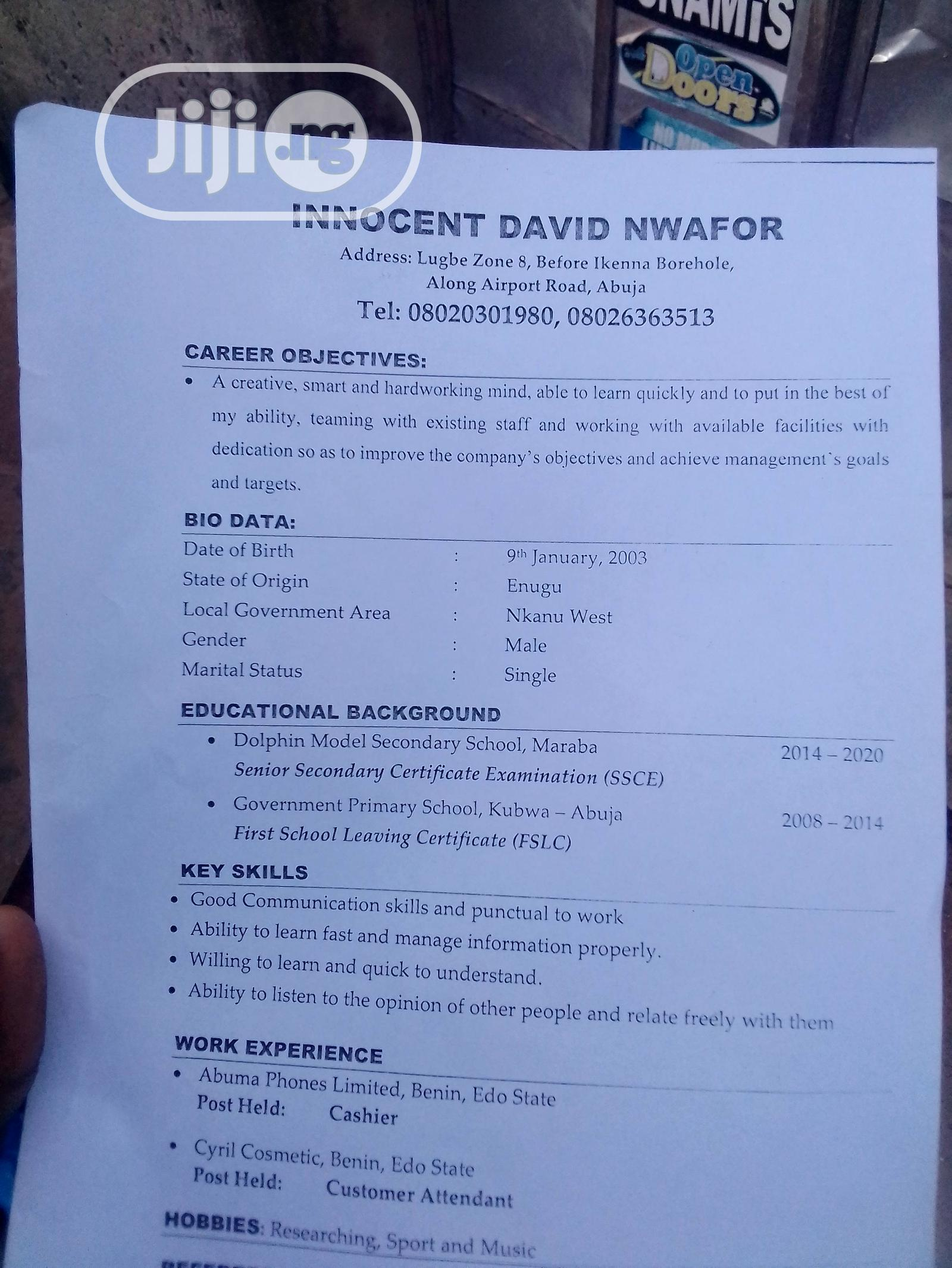 Clerical & Administrative CV | Clerical & Administrative CVs for sale in Lugbe District, Abuja (FCT) State, Nigeria