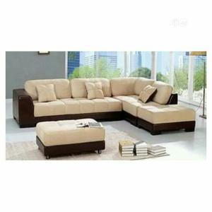 PAWA FU Brown Leather and Cream Fabric 5 Seater L Shape Sofa | Furniture for sale in Abuja (FCT) State, Kubwa
