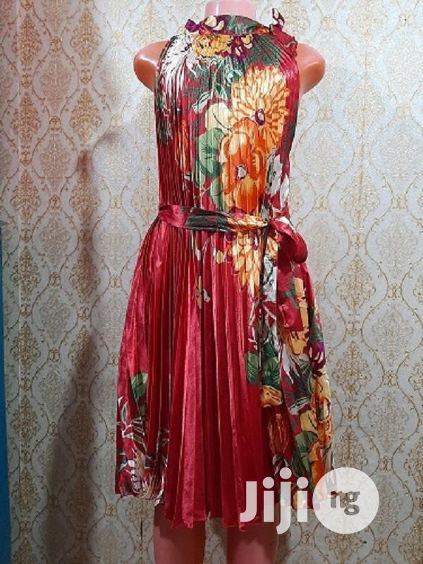 Ladies Pleated Satin Short Gown With Lovely Flower Design