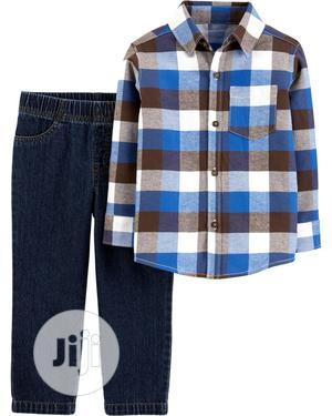 2-Piece Plaid Button-Front Top Denim Pant Set   Children's Clothing for sale in Lagos State, Ajah