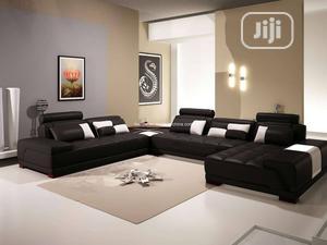 Black U Shaped Leather Sofa | Furniture for sale in Lagos State, Ikeja