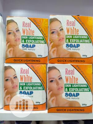 Real White Skin Lightening and Exfoliating Soap 200g   Bath & Body for sale in Lagos State, Amuwo-Odofin