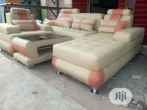 L Shape Leather Sofa With One Single Seater Center Table | Furniture for sale in Lagos State, Ikeja