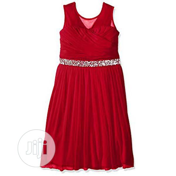 Archive: Speechless Girls Illusion Shirred Sweatheart Top Dress, Red