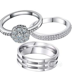 3pcs Sterling Silver Couple Wedding Ring Set | Wedding Wear & Accessories for sale in Lagos State, Surulere