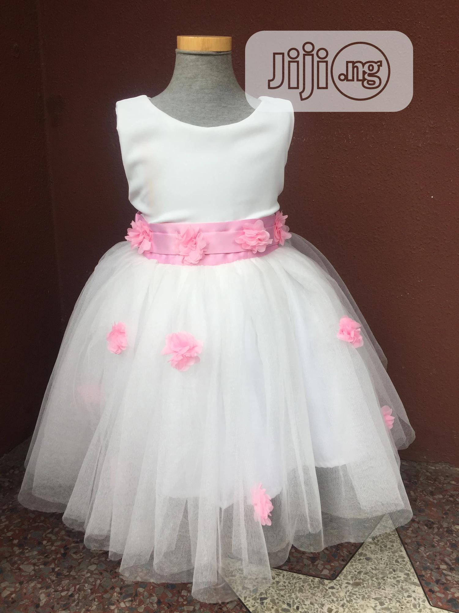 Off White Ball Dress With Baby Pink Flowers And Belt