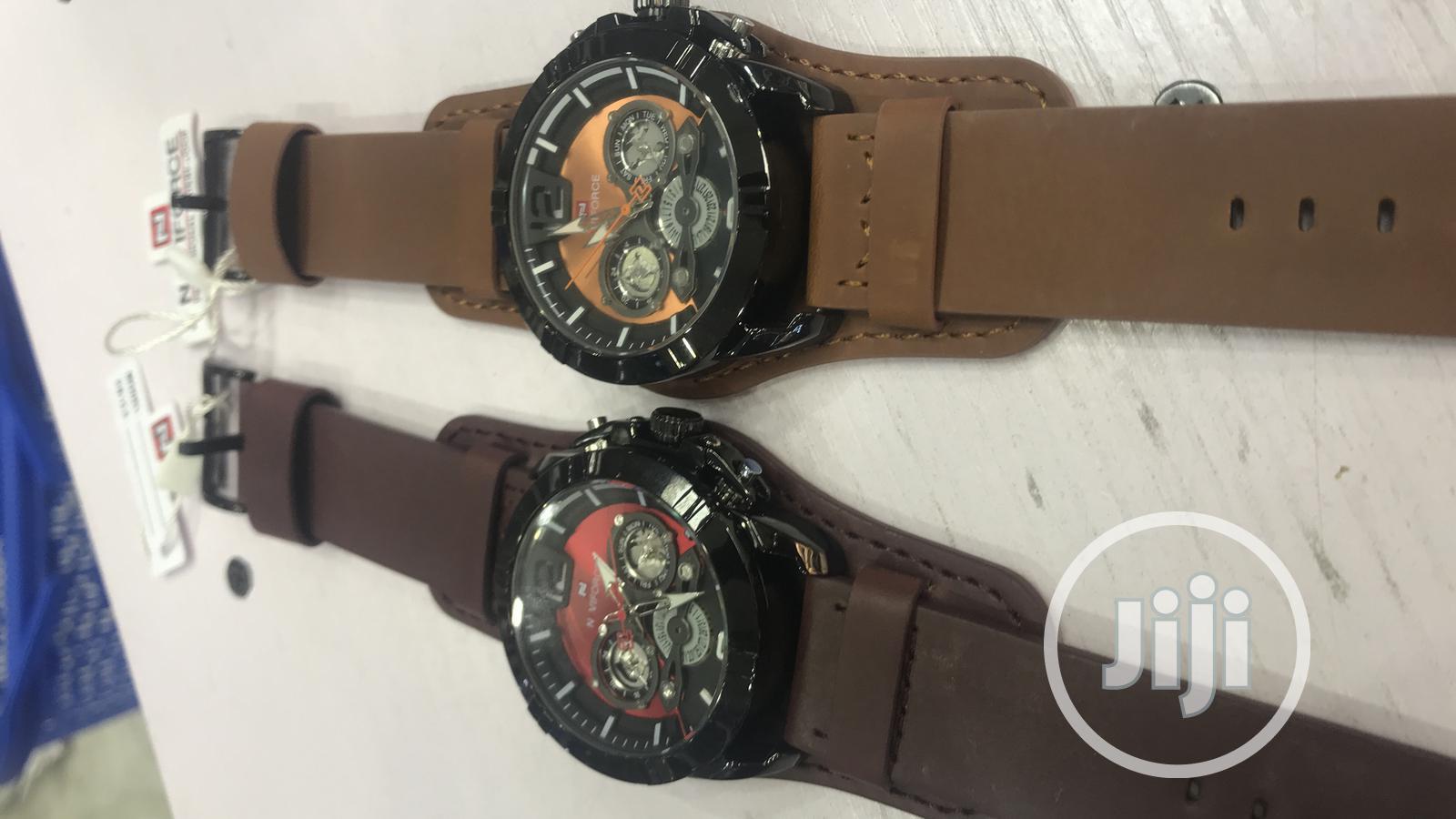 Naviforce Leather Wrist Watch