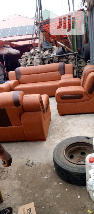 7 Seater Brown Sofas Leather Chair | Furniture for sale in Lagos State, Ojo