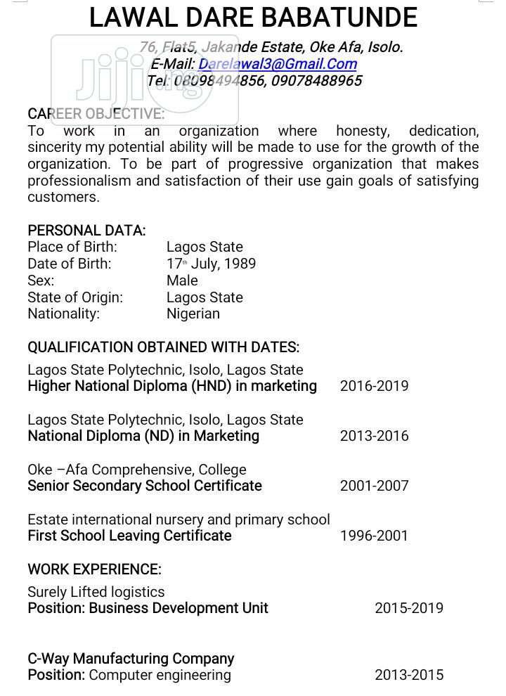 Advertising, Marketing & administrative position