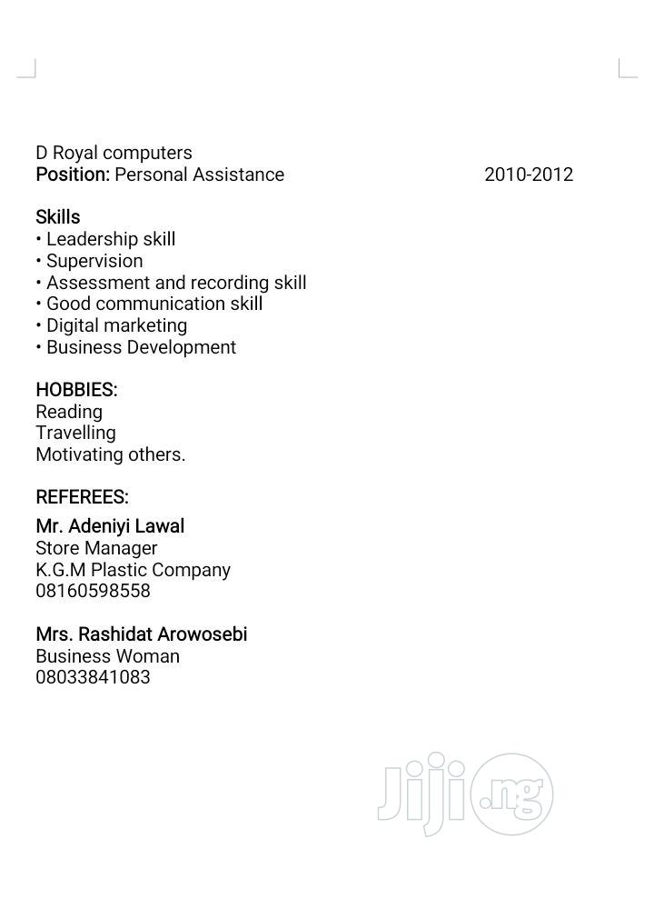 Advertising, Marketing & administrative position | Advertising & Marketing CVs for sale in Isolo, Lagos State, Nigeria