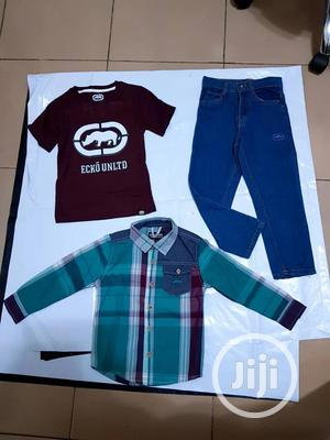 3-piece Plaid Button Shirt, Jersey Tees And Jean Pant Set | Children's Clothing for sale in Lagos State, Ajah