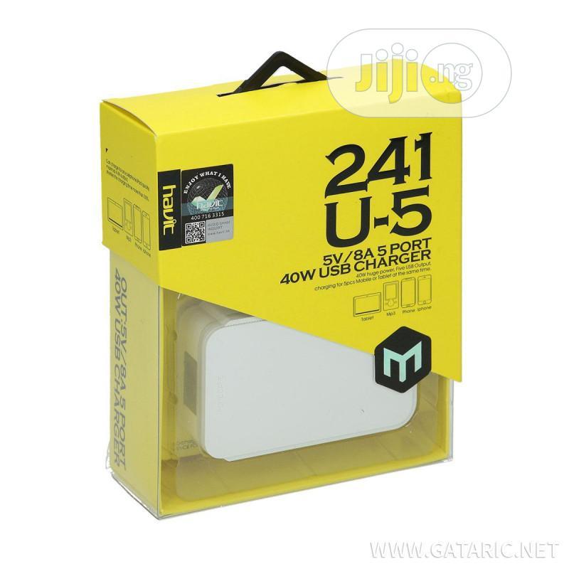 HAVIT Powerport 40W 5-Port Fast Charging USB Charger Hub Wit